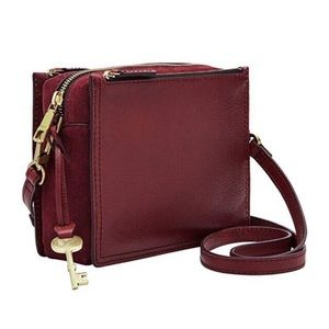 NWT Fossil Campbell Burgundy Leather Crossbody